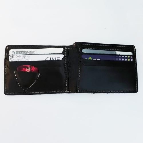 billetera de cuero radio con bolsillo para púa