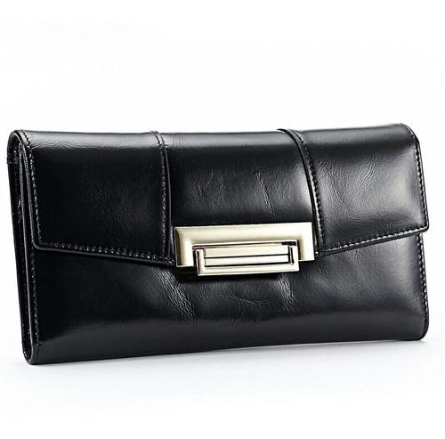 billetera de mujer de cuero genuino de res de moda negro