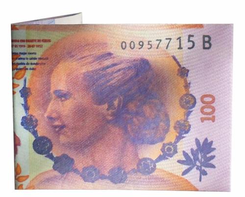 billetera de papel tyvek evita peron billete de 100 pesos