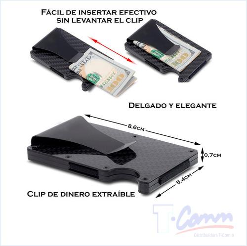 billetera fibra carbono tarjetas débito crédito bloqueo rfid