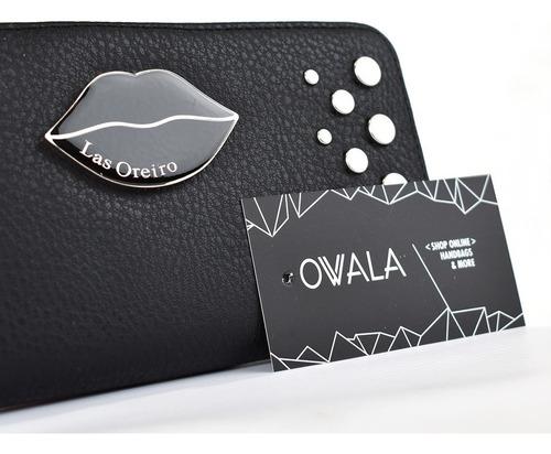 billetera fichero mujer cuero sintetico tachas las oreiro