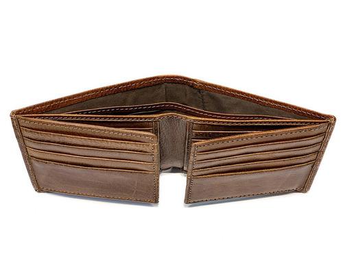 billetera hombre cuero capacidad p/ 18 tarjetas dos volantes 2 divisiones para billetes pesos euros dolares modelo 0076