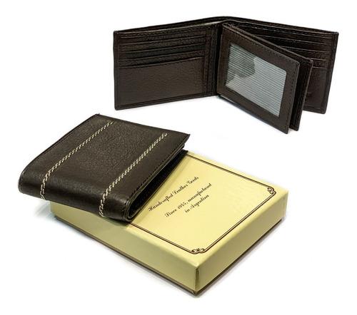 billetera hombre cuero capacidad para 12 tarjetas porta documentos cuatro volantes pesos euros dolares modelo 0918