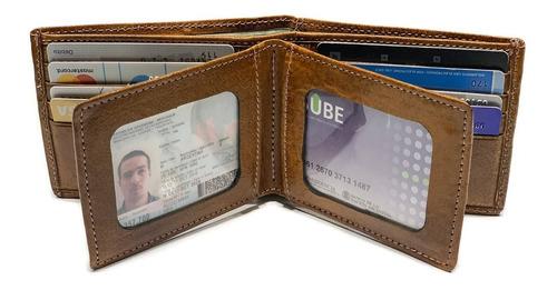 billetera hombre cuero capacidad para 20 tarjetas porta documentos pesos euros dolares 2 div p/ billetes modelo 0077