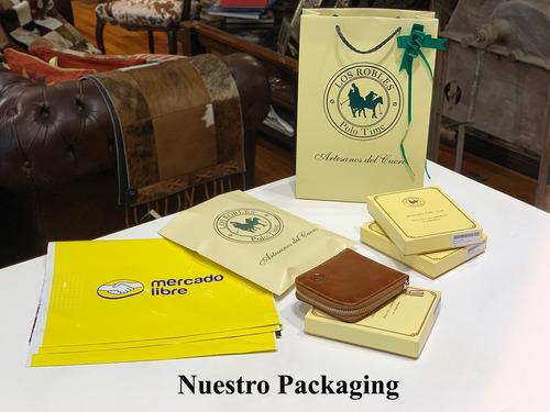 billetera hombre cuero con cierre capacidad para 12 tarjetas volante porta documentos pesos euros dolares modelo 0130