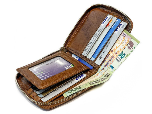 billetera hombre cuero con cierre capacidad para 9 tarjetas 2 volantes porta documentos pesos euros dolares modelo 0091