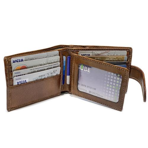 billetera hombre cuero con monedero capacidad p/ 15 tarjetas rabillo porta documentos pesos euros dolares modelo 0054r