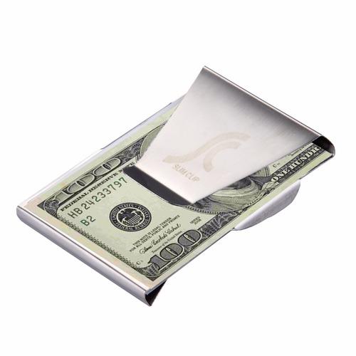 billetera money clip delgada billetes tarjetas