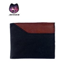 Billetera Negra Con Bolsillo Externo Marrón (cuero)