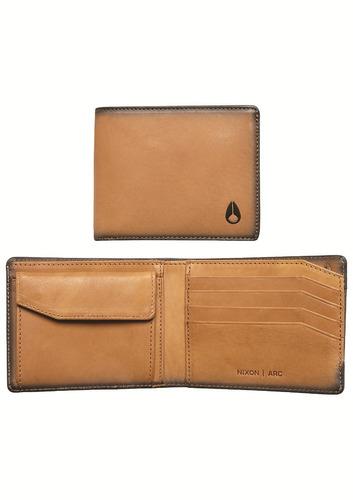 billetera nixon beige arc bi-fold wallet