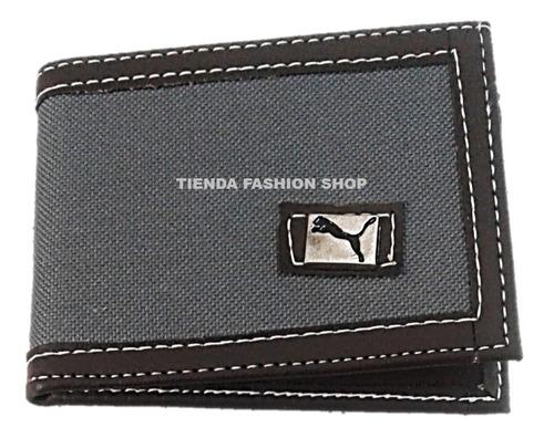 billetera sencilla lona y semi cuero gris marrón caballero