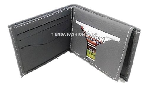 billetera sencilla lona y semi cuero gris negro caballero