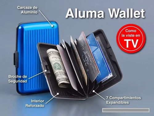 billetera tarjeta credito aluma wallet unisex business bolw