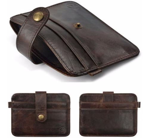 billetera tarjetera de cuero delgada, discreta y practica