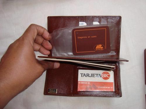 billetera-tarjetero. marca macel. cuero colombiano.