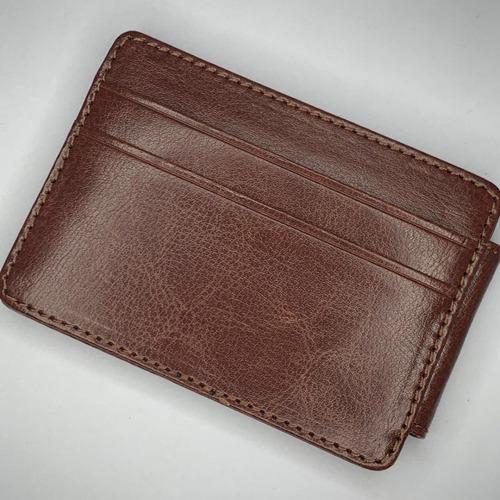 billetera tarjetero porta documentos con imán de cuero