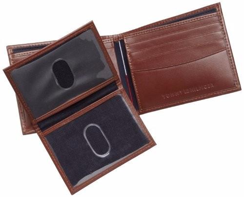 billetera tommy hilfiger cuero negra, marron, importada usa