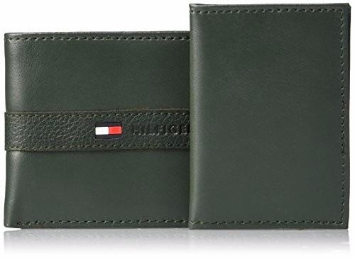 billetera tommy hilfiger cuero verde militar  u. s. a.