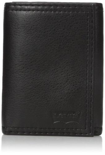 billetera triple levi's para hombre con logotipo en relieve,