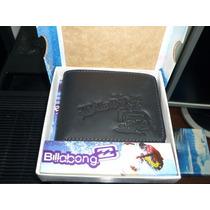 Billetera Billabong Cuero Original Negra Importada Mod8