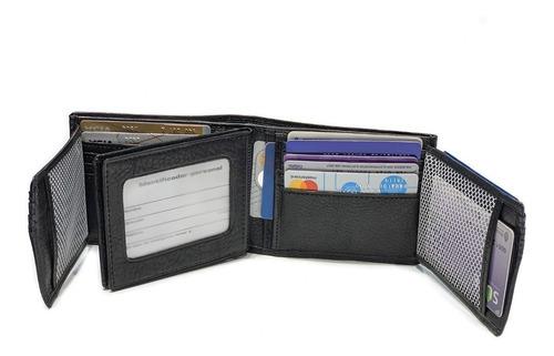 billeteras hombre cuero porta documentos capacidad para 26 tarjetas pesos dolares euros modelo 0659