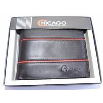 Billetera Chicago Para Caballeros 100% Cuero En Caja