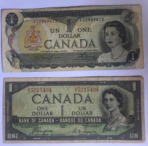 billetes  $1 dolar canada 2 pcs  distintos envio gratis