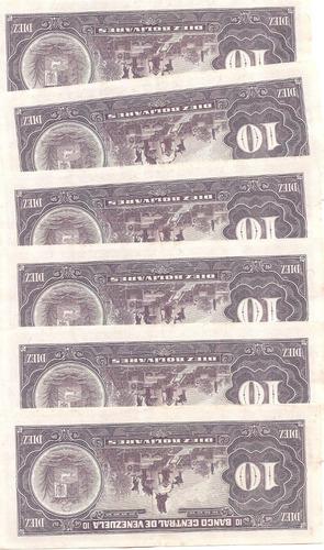 billetes 10 bs de 1990 consecutivos