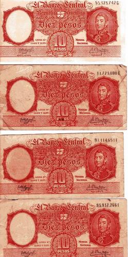 billetes 10 pesos moneda nacional leyes 12962 y 13571