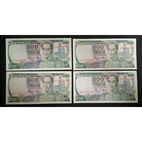 Billetes 200 Pesos Cafetero 1974-75-78-79 Antiguos Hermosos.