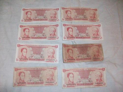 billetes 5 bs 1989 serie c lote descontinuados remate total