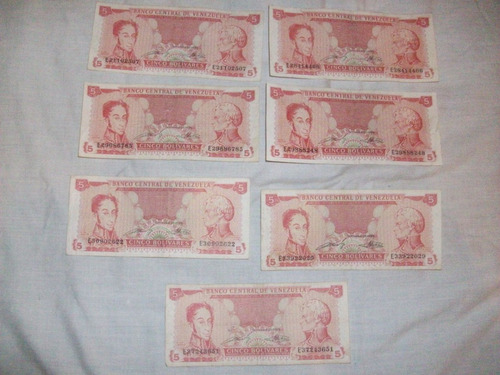 billetes 5 bs 1989 serie e lote descontinuados remate total
