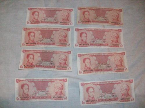 billetes 5 bs 1989 serie k lote descontinuados remate total