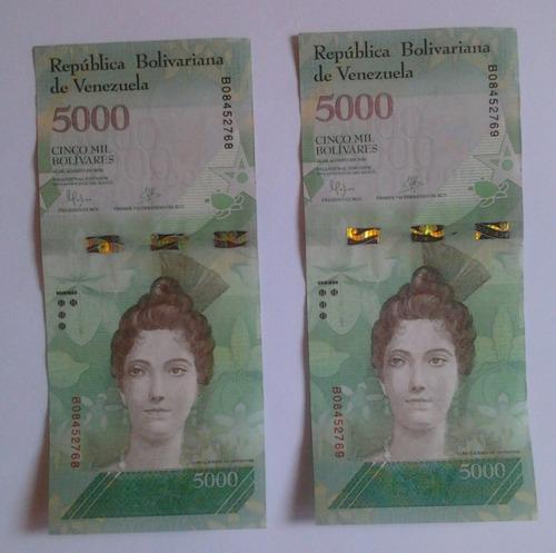 billetes 5000 bolivares serie consecutiva 2016 de coleccion