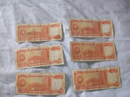 billetes 50bs 1992 serie q,k,m,n descontinuados remate total