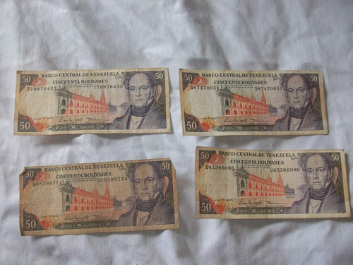 billetes 50bs 1995 serie u,s,q,t descontinuados remate total
