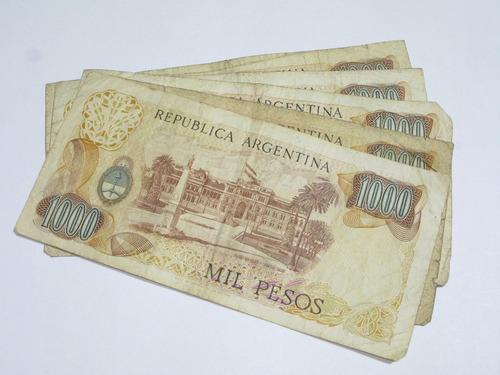 billetes antiguo de mil pesos argentinos pack cinco unidades