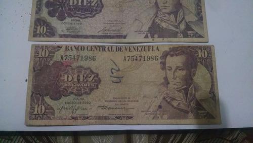 billetes  antiguos 10 bolivares años  80
