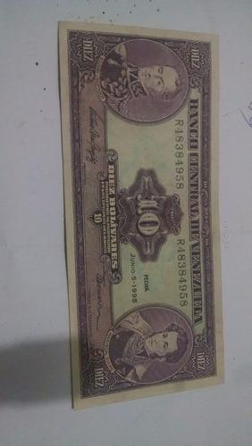 billetes  antiguos 10 bolivares años  90