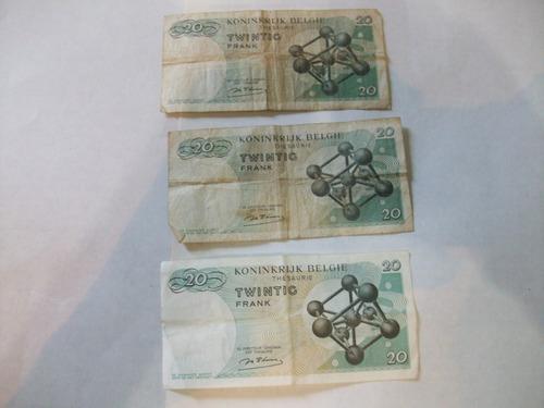 billetes antiguos lote fuera circulación belgica 1964