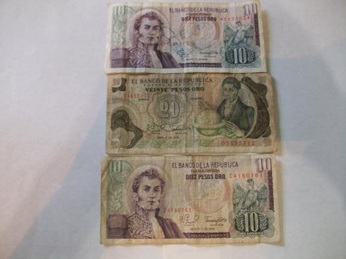 billetes antiguos lote fuera circulación colombia 1979