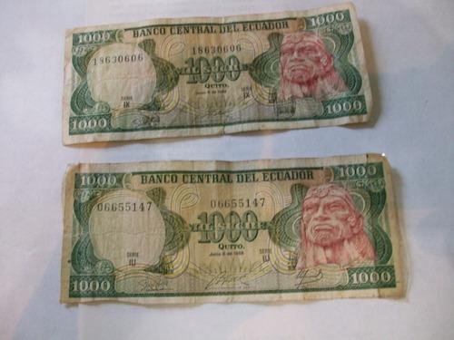 billetes antiguos lote fuera circulación ecuador 1988