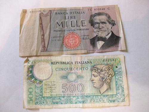 billetes antiguos lote fuera circulación italia 1969 y 74