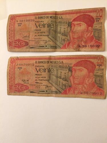 billetes antiguos mexico de $ 20.00