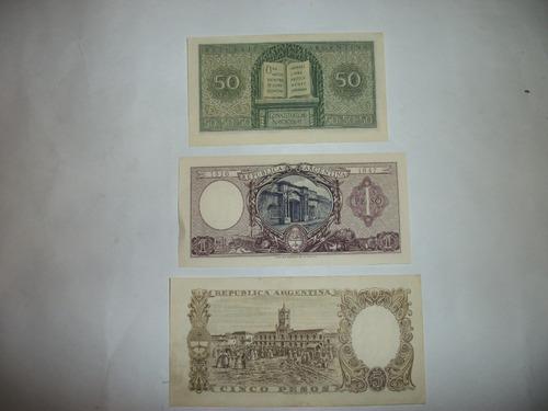 billetes argentinos 3 mon.nacional - o.50 ctv.- 1 y 5 pesos