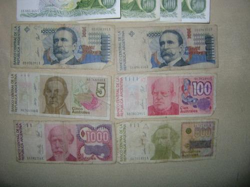 billetes australes y  billetes de 500 pesos moneda nacional