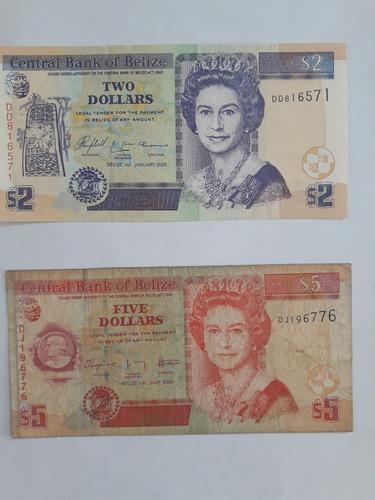 billetes belice de 2 y 5 dolares (honduras britanica)