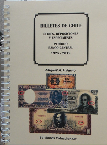 billetes chile series rep. especímenes b. central 1925-2012