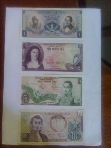 billetes colombia: 1, 2 , 5 y 10 pesos (casi unc)