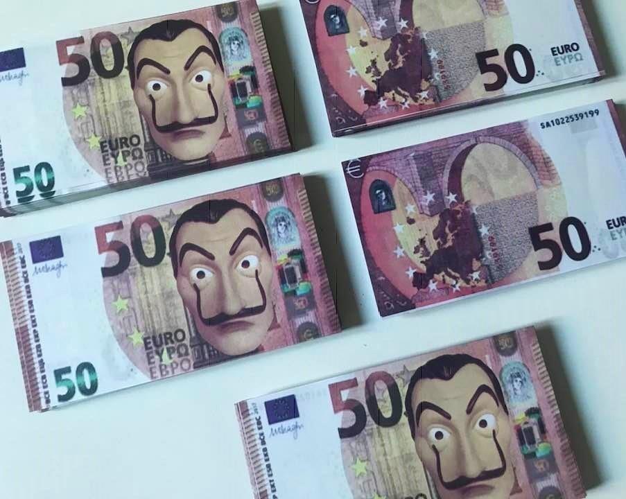 Confeti La Fiestas Disfraz Casa Euro De Dali Billetes Papel D2WEHIeY9